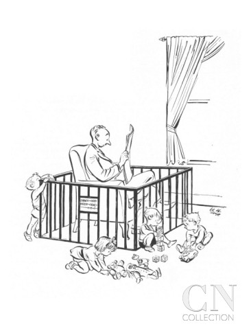 tph carl-rose-man-is-seeking-refuge-from-his-children-inside-their-playpen-new-yorker-cartoon
